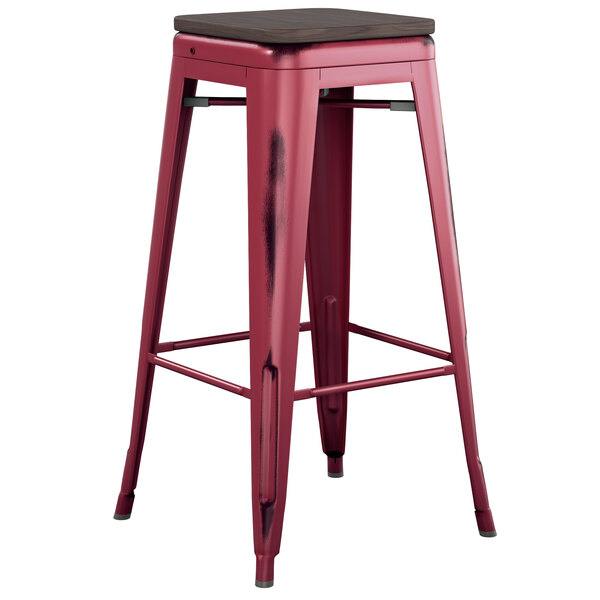 Lancaster Table & Seating Alloy Series Distressed Sangria Stackable Metal Indoor Industrial Barstool with Black Wood Seat Main Image 1