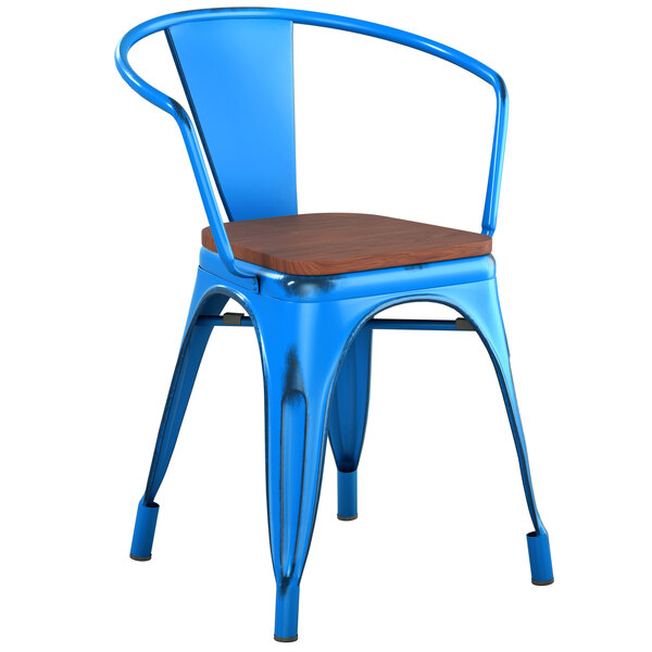 Lancaster Table & Seating Alloy Series Distressed Blue Metal Indoor Industrial Cafe Arm Chair with Vertical Slat Back and Walnut Wood Seat Main Image 1