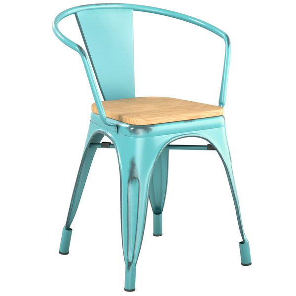 Lancaster Table & Seating Alloy Series Distressed Seafoam Metal Indoor Industrial Cafe Arm Chair with Vertical Slat Back and Natural Wood Seat Main Image 1