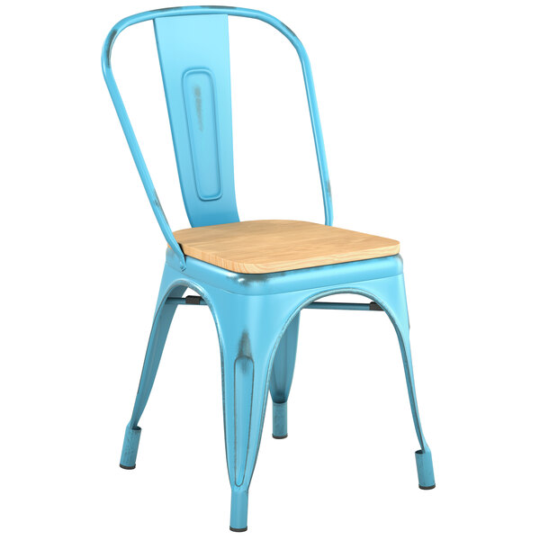 Lancaster Table & Seating Alloy Series Distressed Arctic Blue Metal Indoor Industrial Cafe Chair with Vertical Slat Back and Natural Wood Seat Main Image 1