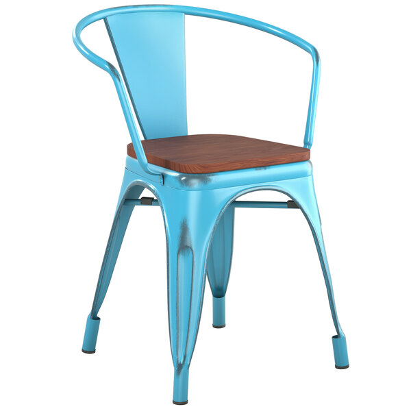Lancaster Table & Seating Alloy Series Distressed Arctic Blue Metal Indoor Industrial Cafe Arm Chair with Vertical Slat Back and Walnut Wood Seat Main Image 1