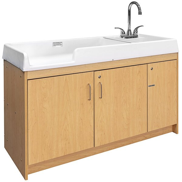"""Tot Mate TMU401A.S2222 Maple Laminate Infant Changing Table with Right Side Sink - 59 1/2"""" x 23 1/2"""" x 37 1/2"""" Main Image 1"""