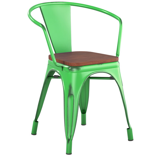 Lancaster Table & Seating Alloy Series Distressed Green Metal Indoor Industrial Cafe Arm Chair with Vertical Slat Back and Walnut Wood Seat Main Image 1
