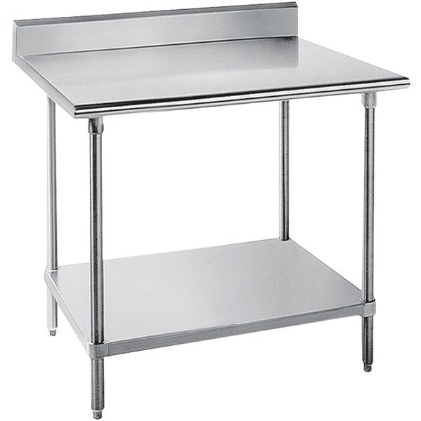 "Advance Tabco SKG-300 30"" x 30"" 16 Gauge Super Saver Stainless Steel Commercial Work Table with Undershelf and 5"" Backsplash"