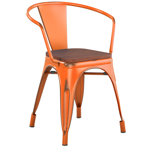 Lancaster Table & Seating Alloy Series Distressed Orange Metal Indoor Industrial Cafe Arm Chair with Vertical Slat Back and Walnut Wood Seat Main Image 1