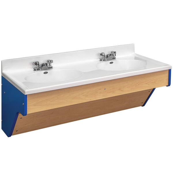"""Tot Mate TM8362R.S3322 Royal Blue and Maple Double Laminate Wall Vanity - 49"""" x 21"""" x 21 1/2""""; Unassembled Main Image 1"""