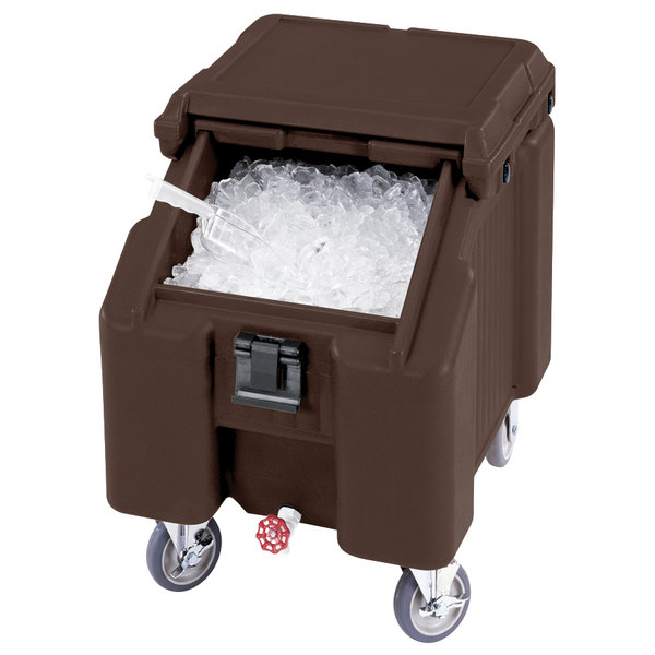 Cambro ICS100L4S131 Dark Brown Sliding Lid Portable Ice Bin - 100 lb. Capacity