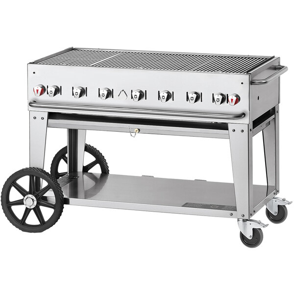 """Crown Verity CV-MCB-48-SI 50/100-PRO Pro Series 48"""" Outdoor Mobile Grill with Roll Dome, Bun Rack, and 2 Side Shelves - 99,000 BTU Main Image 1"""