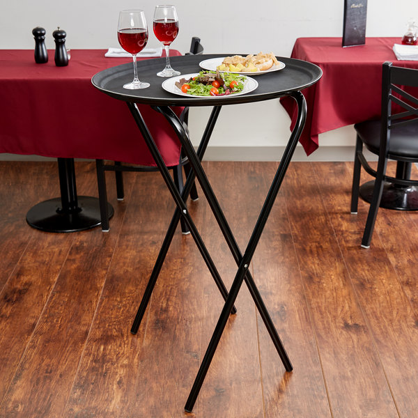 """Lancaster Table & Seating 20"""" x 16 1/2"""" x 36"""" Folding Tray Stand Black Metal"""