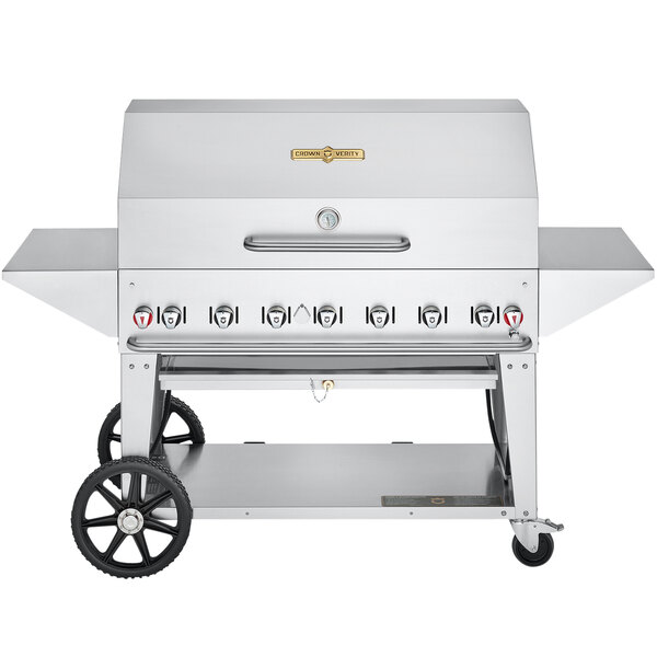 """Crown Verity CV-MCB-48PRO-NG Pro Series 48"""" Natural Gas Outdoor Mobile Grill with Roll Dome, Bun Rack, and 2 Side Shelves - 99,000 BTU Main Image 1"""