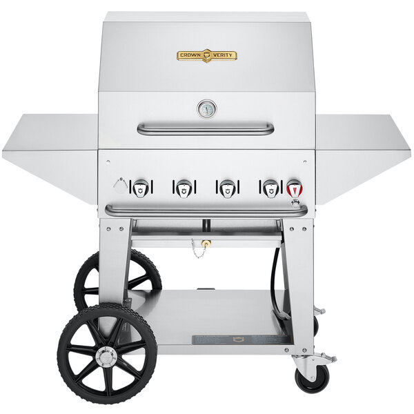 """Crown Verity CV-MCB-30PRO-NG Pro Series 30"""" Natural Gas Outdoor Mobile Grill with Roll Dome, Bun Rack, and 2 Side Shelves - 64,500 BTU Main Image 1"""