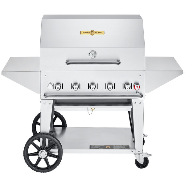 """Crown Verity CV-MCB-36PRO-NG Pro Series 36"""" Natural Gas Outdoor Mobile Grill with Roll Dome, Bun Rack, and 2 Side Shelves - 79,500 BTU Main Image 1"""