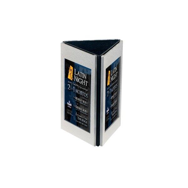 "Menu Solutions TRIAL-B Triple View Aluminum Menu Displayette with Brushed Finish - 5"" x 7"""