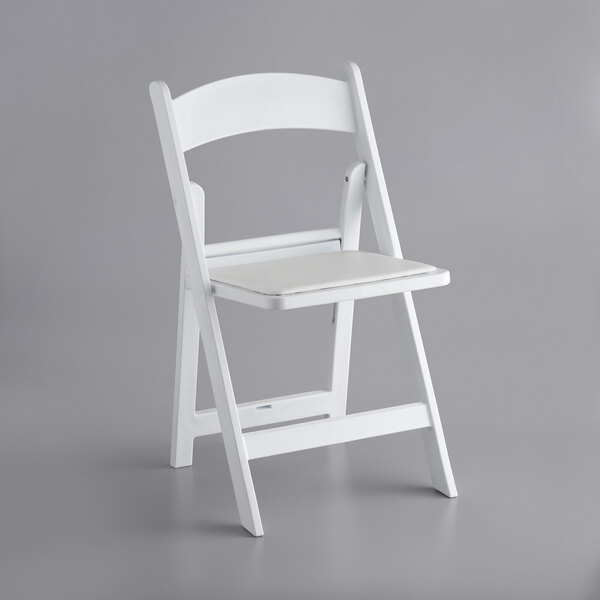 Lancaster Table & Seating White Resin Folding Chair with Vinyl Seat Main Image 1