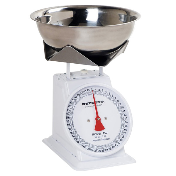 Cardinal Detecto T25B 25 lb. Top Loading Fixed Dial Scale with SS Bowl / Folded Platform Edges