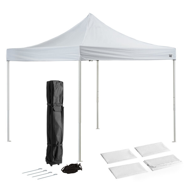 Backyard Pro Courtyard Series 10' x 10' White Straight Leg Steel Instant Canopy Deluxe Kit with 4 Side Walls Main Image 1