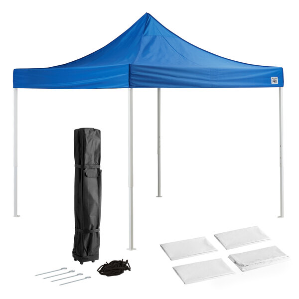 Backyard Pro Courtyard Series 10' x 10' Blue Straight Leg Steel Instant Canopy Deluxe Kit with 4 Side Walls Main Image 1