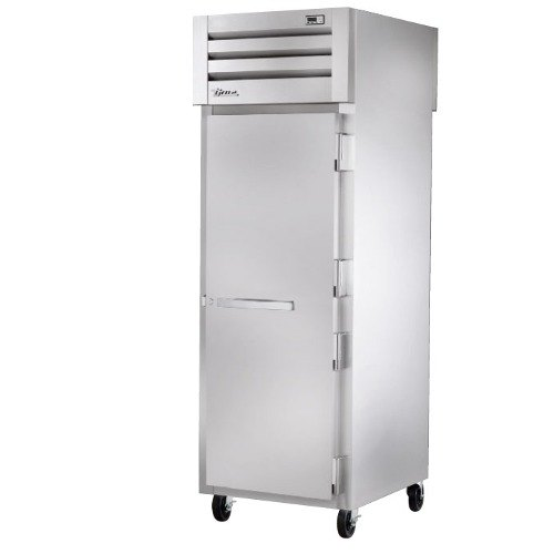 True STR1RPT-1S-1G Specification Series One Section Pass-Through Refrigerator with Solid Front Door and Glass Rear Door - 31 Cu. Ft.