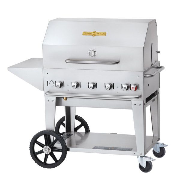 Crown Verity MCB-36 PKG Liquid Propane Portable Outdoor BBQ Grill / Charbroiler with Roll Dome, Outdoor Cover, Shelf, and Bun Rack Main Image 1