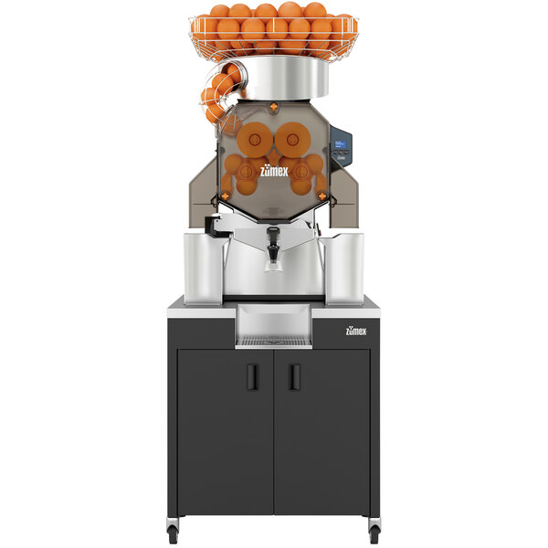 Zumex 08821 Speed Up All-in-One High Capacity Automatic Feed Juicer with Narrow Black Podium - 40 Fruits / Minute Main Image 1