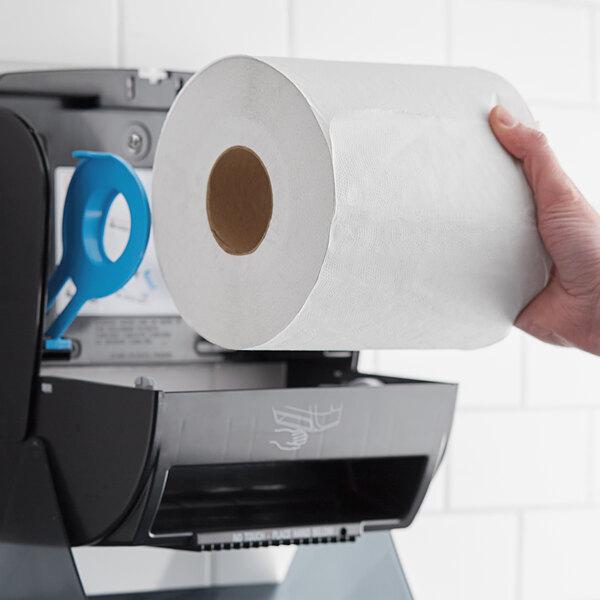 "Hygenics 7 1/2"" White Hardwound Paper Towel, 665 Feet / Roll - 6/Case Main Image 2"