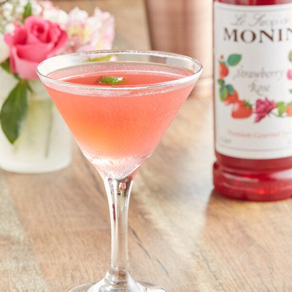 Monin 1 Liter Premium Strawberry Rose Flavoring Syrup Main Image 2