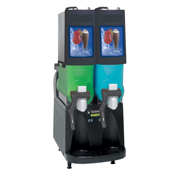 Bunn 34000.0504 Ultra-2 PAF Black No Logo Double 2 Gallon Powdered Autofill Slushy / Granita Frozen Drink Machine - 120V