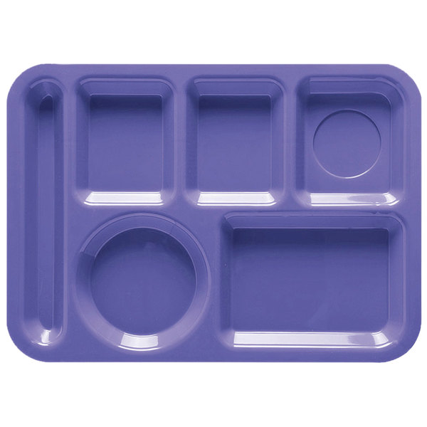 """GET TL-152 10"""" x 14"""" Peacock Blue ABS Plastic Left Hand 6 Compartment Tray - 12/Pack"""
