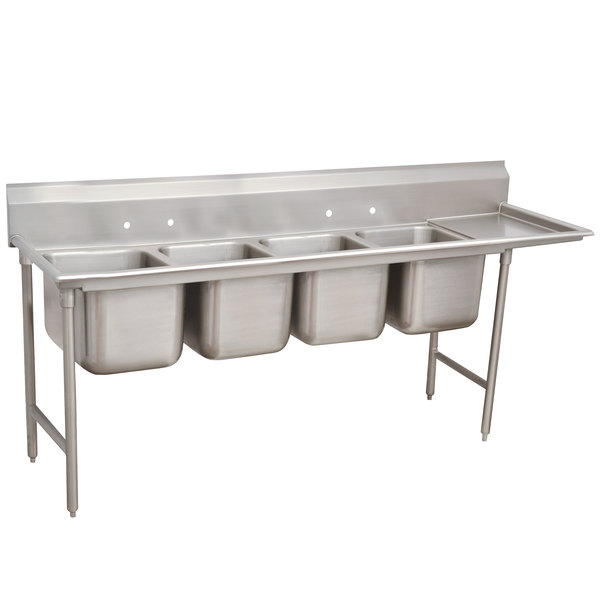 """Right Drainboard Advance Tabco 93-84-80-18 Regaline Four Compartment Stainless Steel Sink with One Drainboard - 111"""""""