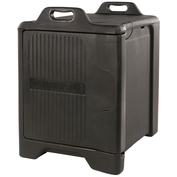 Carlisle XT3000R03 Slide 'N Seal™ Black Front Loading Insulated Food Pan Carrier with Sliding Lid - Holds 5 Pans Main Image 1