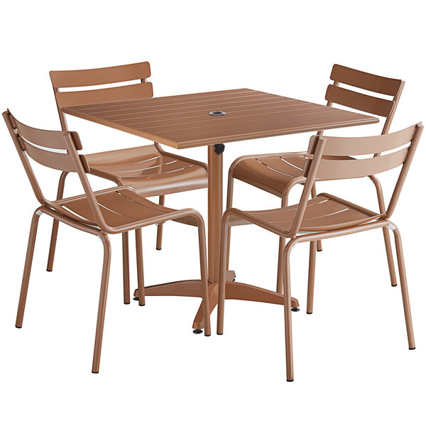 """Lancaster Table & Seating 36"""" x 36"""" Brown Powder-Coated Aluminum Dining Height Outdoor Table with Umbrella Hole and 4 Side Chairs Main Image 1"""