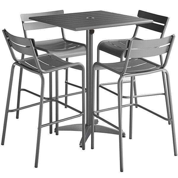 """Lancaster Table & Seating 32"""" x 32"""" Matte Gray Powder-Coated Aluminum Bar Height Outdoor Table with Umbrella Hole and 4 Barstools Main Image 1"""