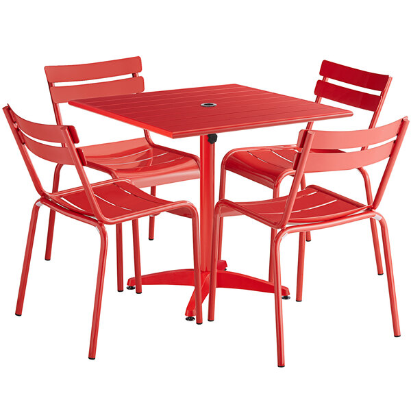 Outdoor Restaurant Patio Table, Red Patio Table And Chairs