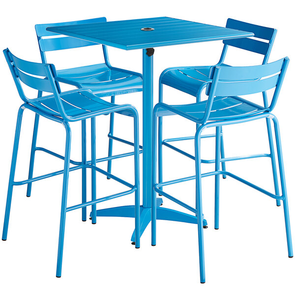 """Lancaster Table & Seating 32"""" x 32"""" Blue Powder-Coated Aluminum Bar Height Outdoor Table with Umbrella Hole and 4 Barstools Main Image 1"""