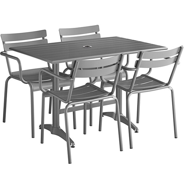 """Lancaster Table & Seating 32"""" x 48"""" Matte Gray Powder-Coated Aluminum Dining Height Outdoor Table with Umbrella Hole and 4 Arm Chairs Main Image 1"""
