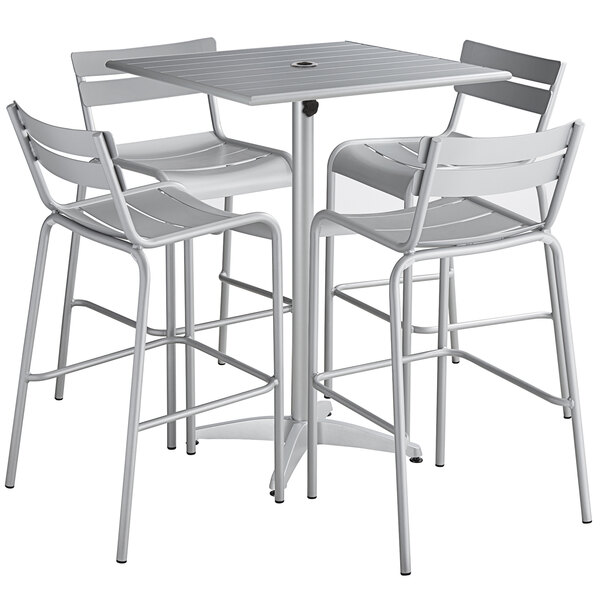 """Lancaster Table & Seating 32"""" x 32"""" Silver Powder-Coated Aluminum Bar Height Outdoor Table with Umbrella Hole and 4 Barstools Main Image 1"""
