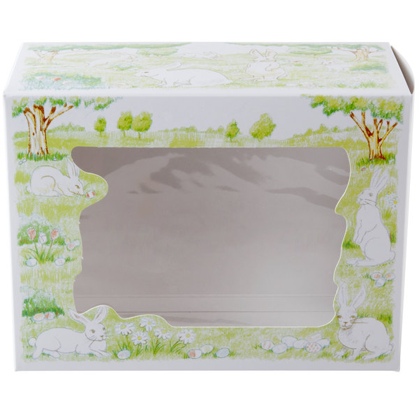 """Southern Champion 2491 7 1/2"""" x 5"""" x 10"""" Window Cake / Bakery Box with Easter Design - 100/Bundle"""