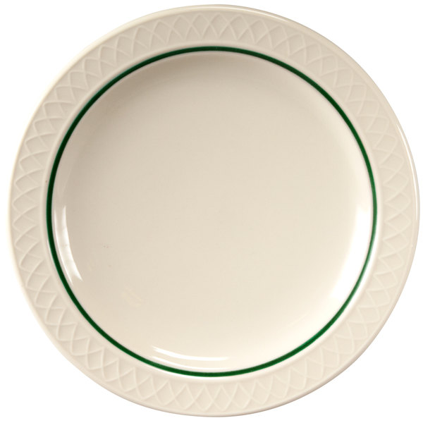 "Homer Laughlin 1430-0345 Green Jade Gothic Off White 7 1/4"" Narrow Rim Plate - 36/Case"