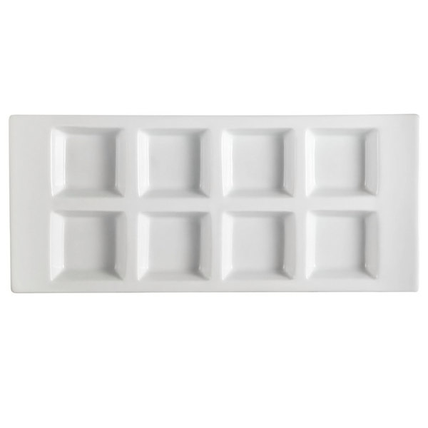 """CAC CN-8T13 13 1/2"""" x 6"""" x 1 1/8"""" Porcelain Rectangular 8 Compartment Tasting Tray - 12/Case"""