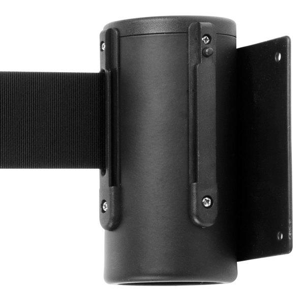 Aarco WM-7BK Black Wall-Mount Stanchion with 7' Black Retractable Belt