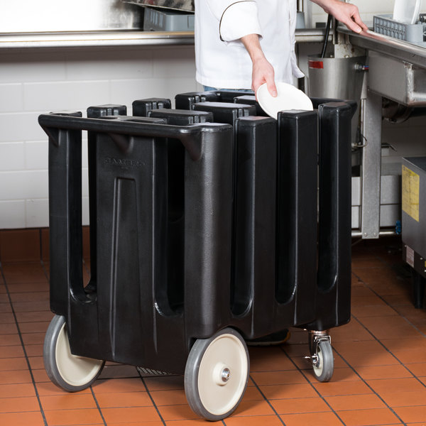 Cambro DC700110 Black Poker Chip Dish Dolly / Caddy with Vinyl Cover - 6 Column