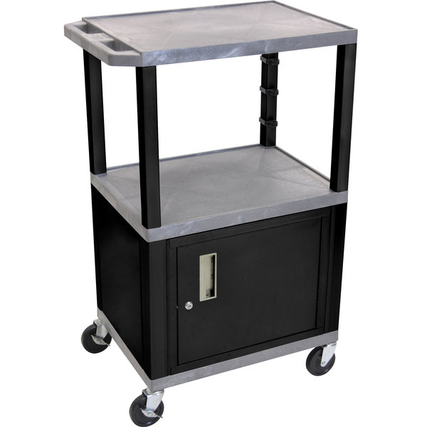 "Luxor WT2642GYC2E-B Gray Tuffy Two Shelf Adjustable Height A/V Cart with Locking Cabinet - 18"" x 24"""