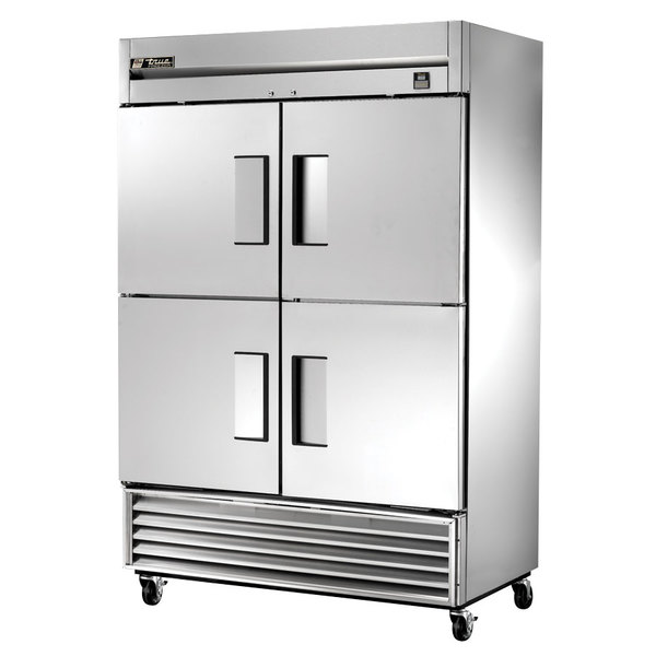 True TS-49F-4-HC 54 inch Stainless Steel Two Section Solid Half Door Reach In Freezer - 49 Cu. Ft.