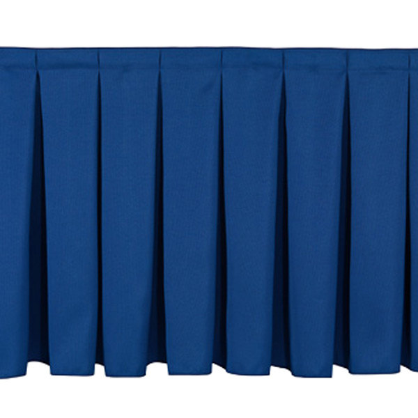 "National Public Seating SB8-96 Navy Box Stage Skirt for 8"" Stage - 96"" Long Main Image 1"