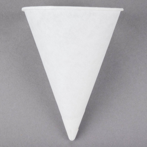 Genpak Harvest W4F 4 oz. White Rolled Rim Paper Cone Cup - 200/Pack