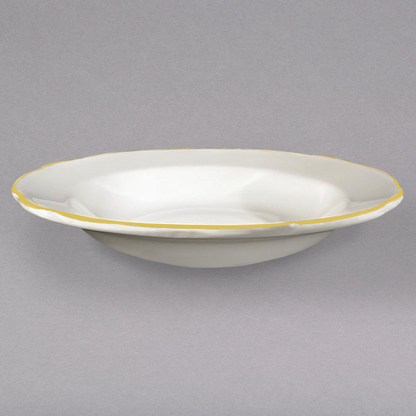 10 oz. Ivory (American White) Scalloped Edge China Soup Bowl with Gold Band - 24/Case