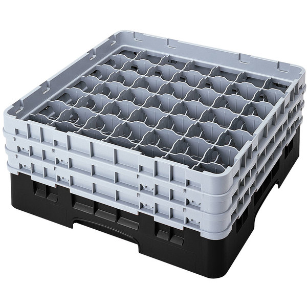 "Cambro 49S638110 Black Camrack Customizable 49 Compartment 6 7/8"" Glass Rack"