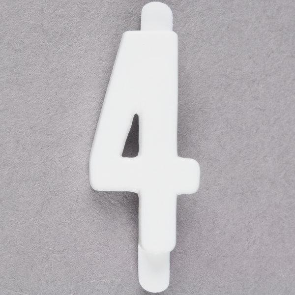 """3/4"""" White Molded Plastic Number 4 Deli Tag Insert - 50/Set"""