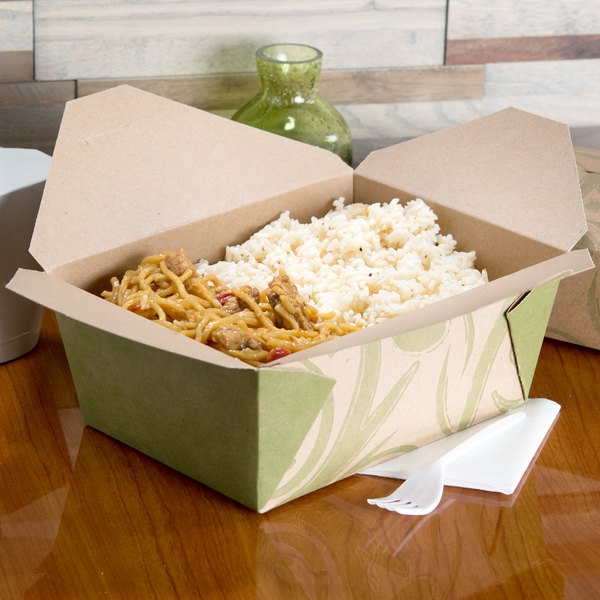 """Bio-Plus-Earth 04BPSONOMM 8"""" x 6"""" x 3 1/2"""" Sonoma Microwavable Paper #4 Take-Out Container - 160/Case"""