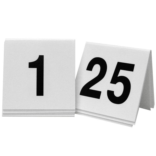"""Cal-Mil 227 White/Black Double-Sided Number Tents 1-25 - 3"""" x 3"""""""
